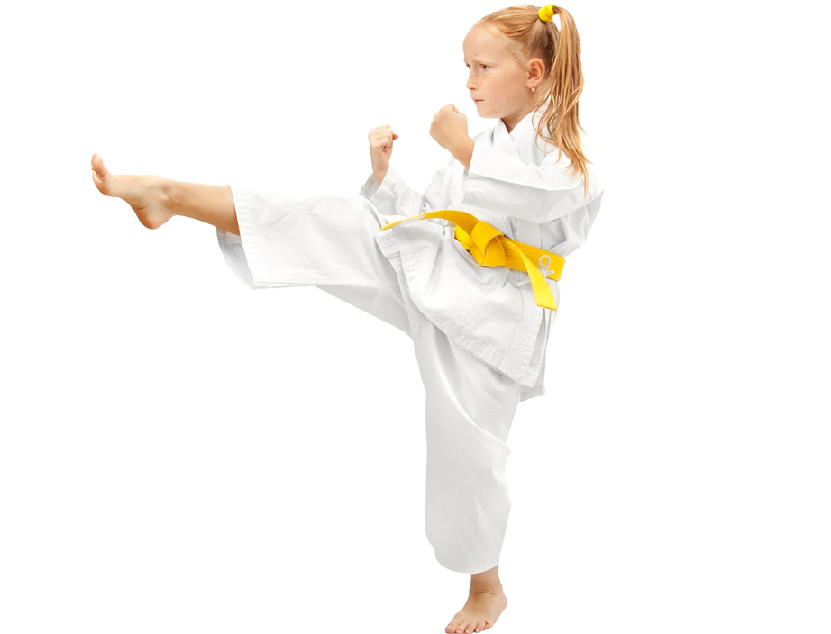 young redhead girl karate kicking