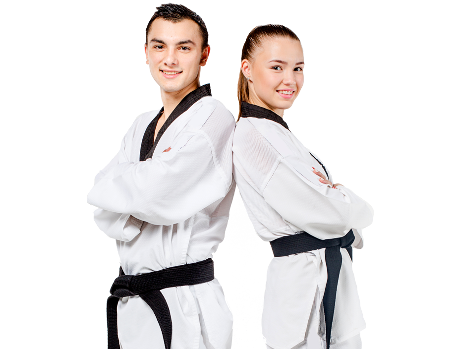 teenage boy and girl in karate uniforms