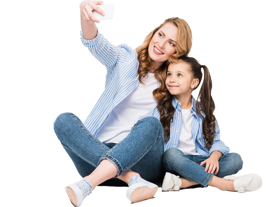 Mother and daughter taking a selfie