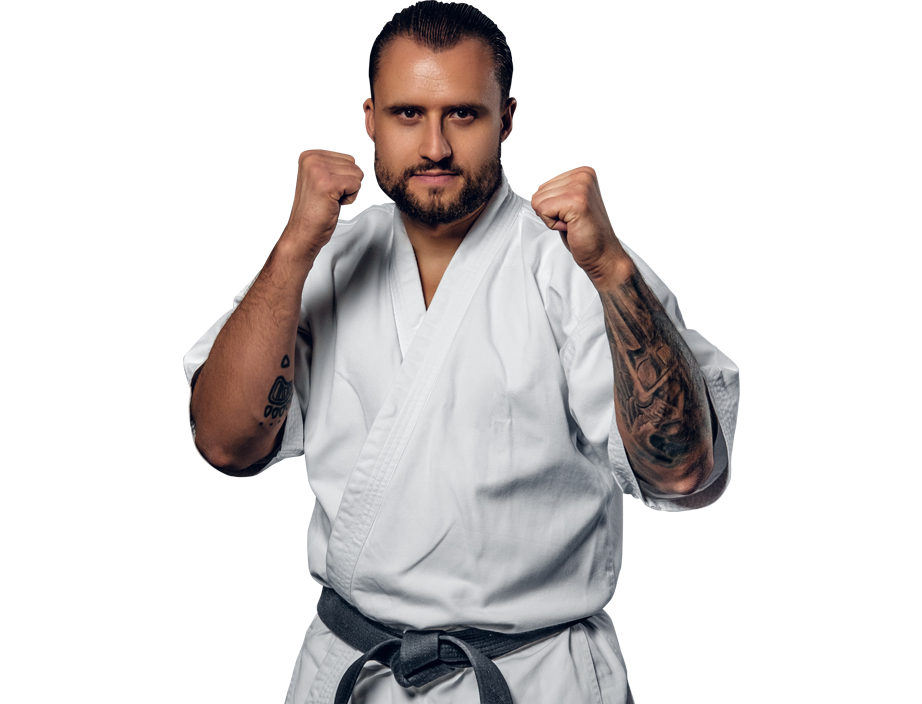 adult man in karate stance